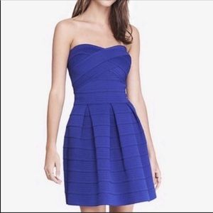 Express Blue Bandage Fit and flare dress